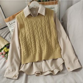 Shirt with Knit Vest